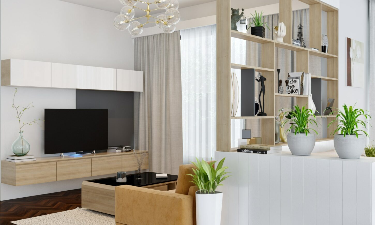 Modern minimalistic independent home of auro smitha hall tv unit and wall partition in bengaluru designed by design cafe