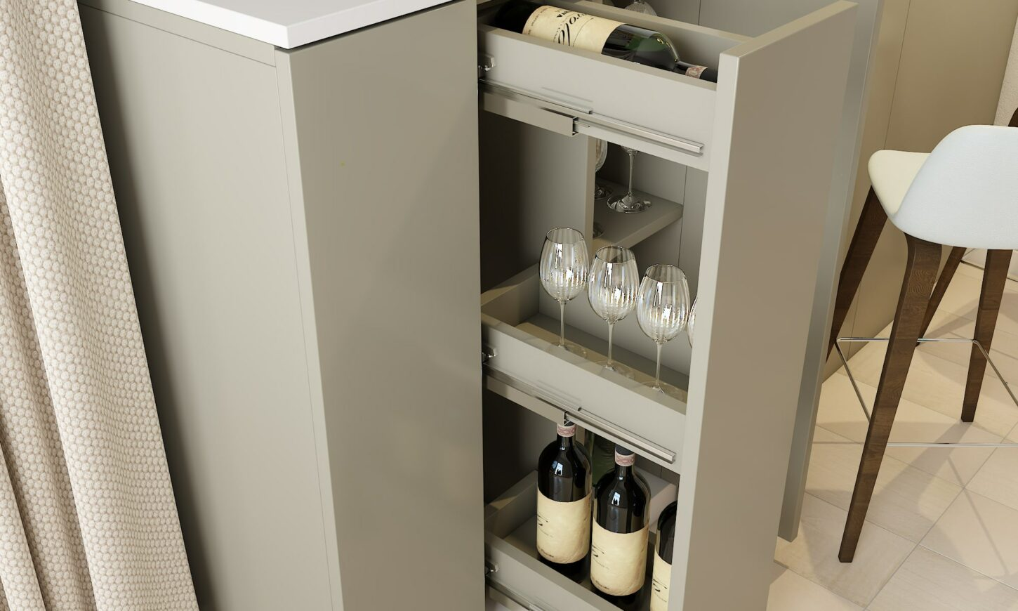 Modern minimal style dining room design mini bar bottle pull out cabinet and crockery units.