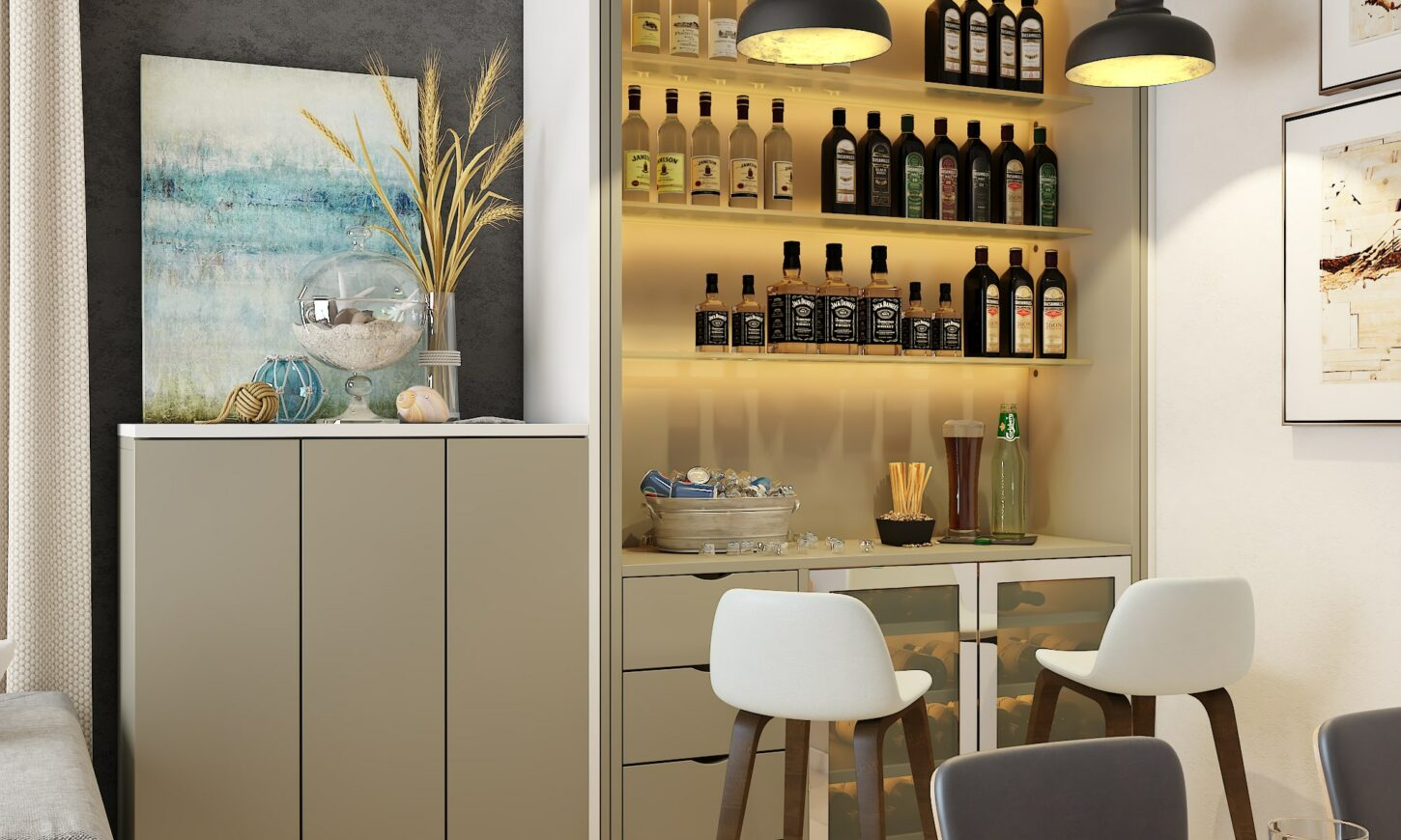 Modern minimal style dining room design crockery unit, mini bar, modern wall dining table with chairs, lights.