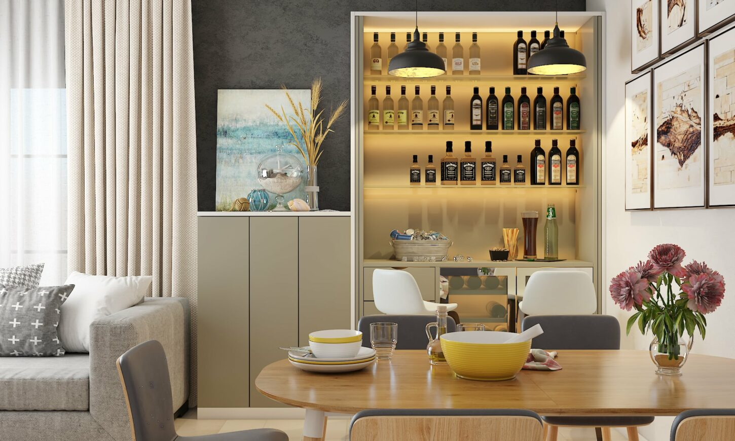 Modern minimal style dining room design with wooden dining tables 6 seater, cabinets, wine rack, chairs.