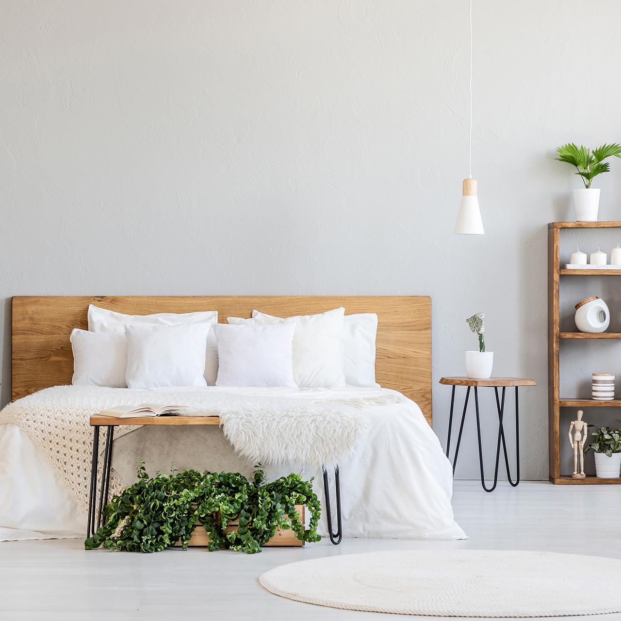 Scandinavian style bedroom designs are characterised by the minimal decor