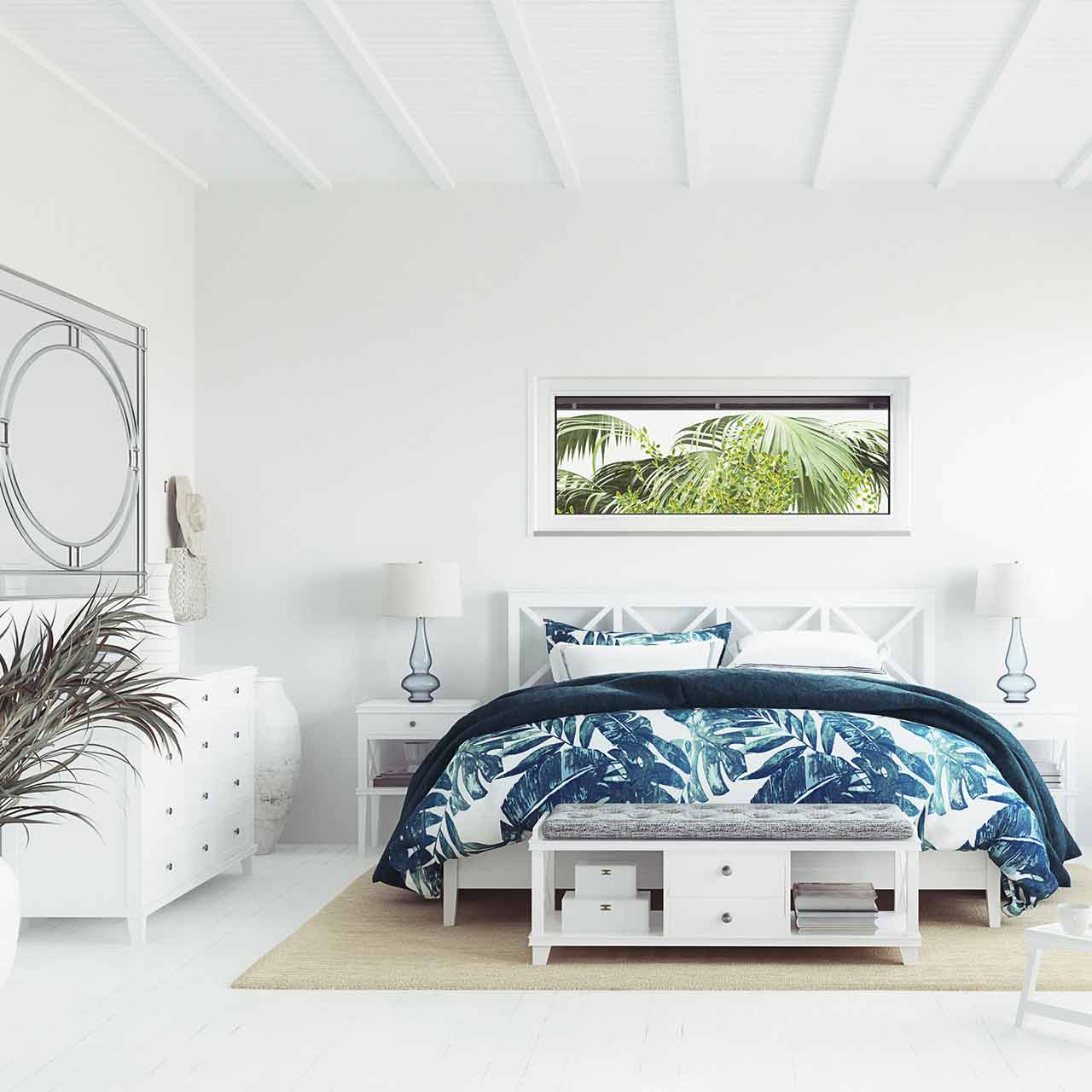 Coastal style bedroom interior design is casual, peace inspiring and timeworn furnishings