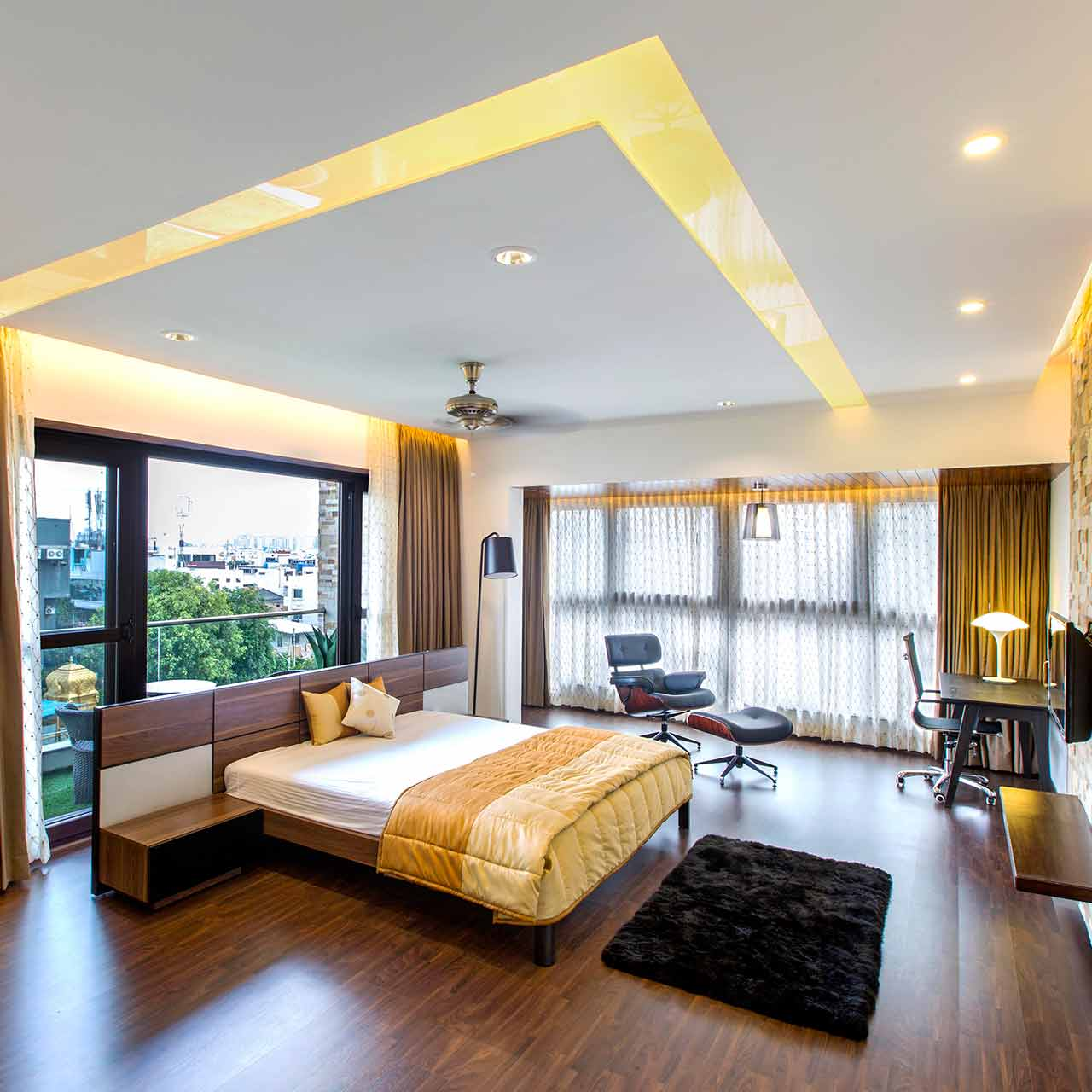 Contemporary style bedroom interior design is characterised by sleek and clean design