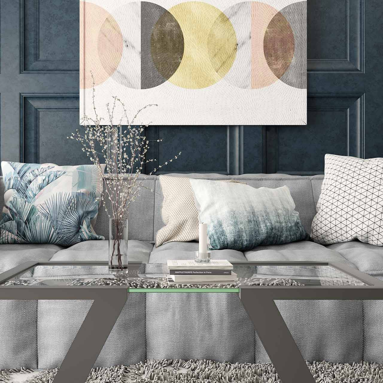Living room interior design with a beautifully patterned pillows lend a beautiful flavour