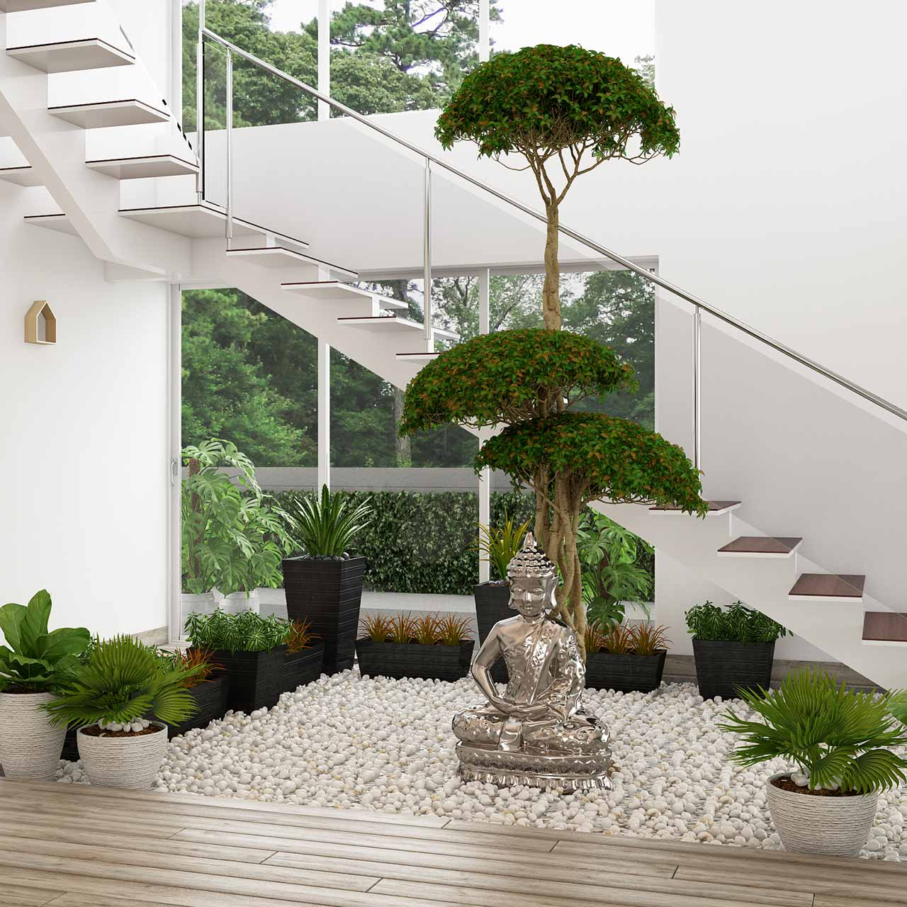 Design your living room interiors with a vibrant natural plants will make your living room lively