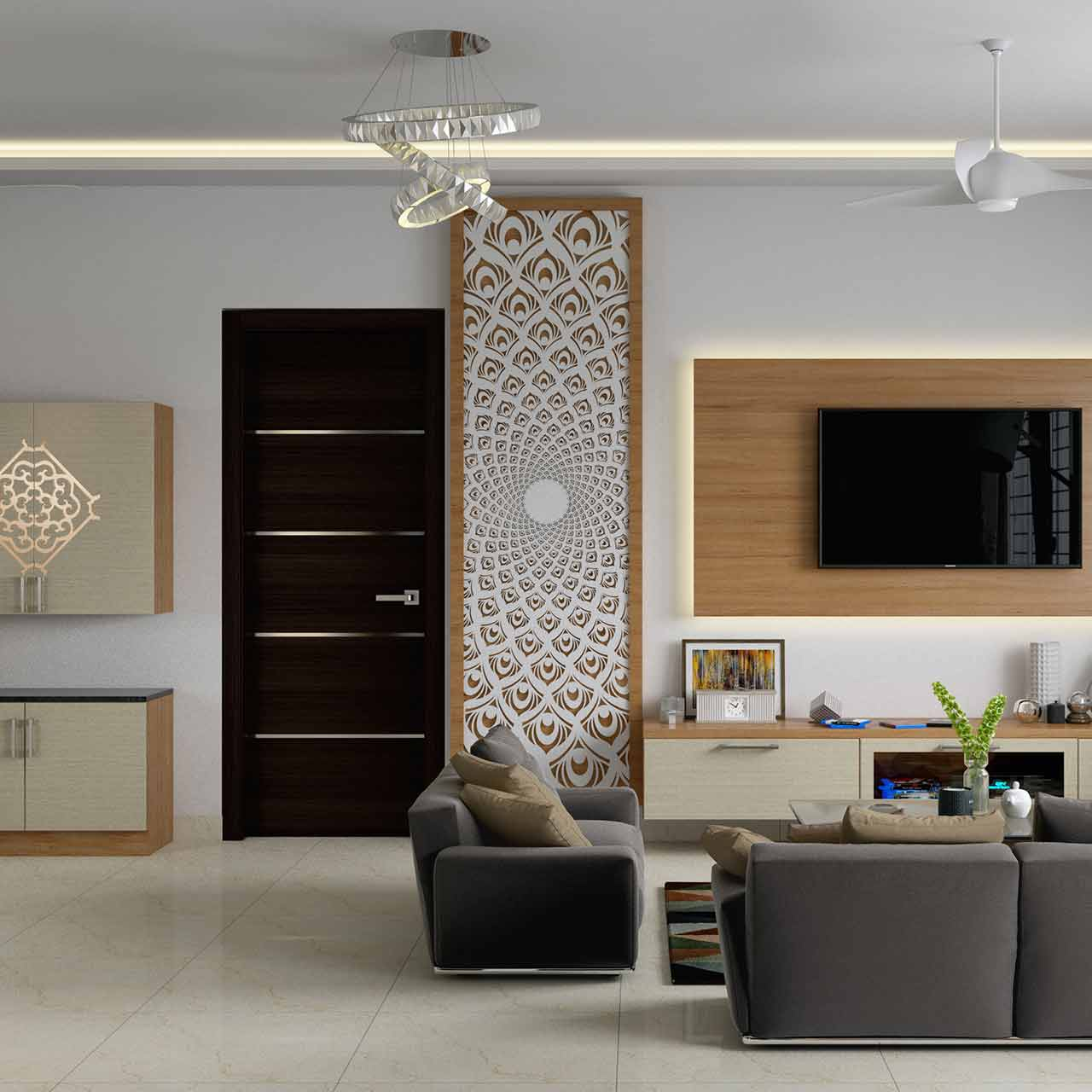 Modern style living room interior design with a metallic light fixtures and a pair of bright accent pillows will glam up your living room
