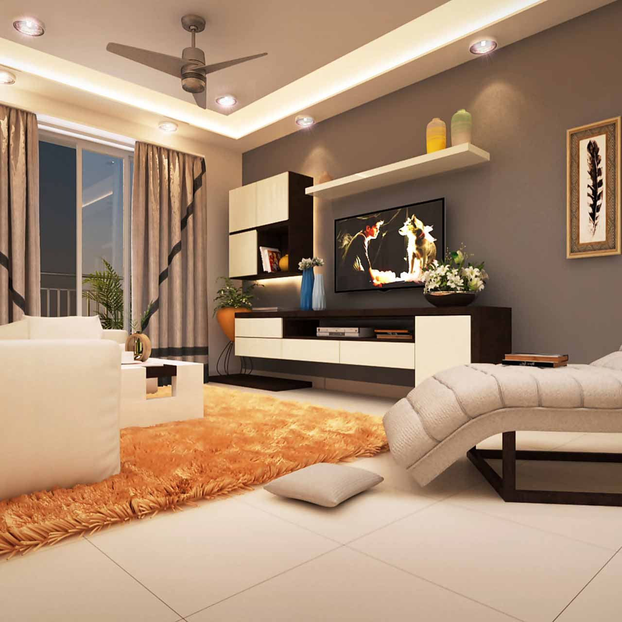 Eclectic style living room design with a bold couch, a coffee table with a metallic glint and pillows