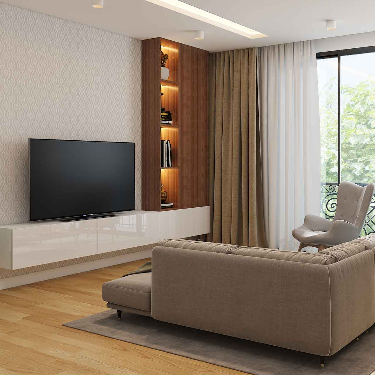 Mid century style living room interiors with wooden legged furniture, nested coffee tables and accent chairs