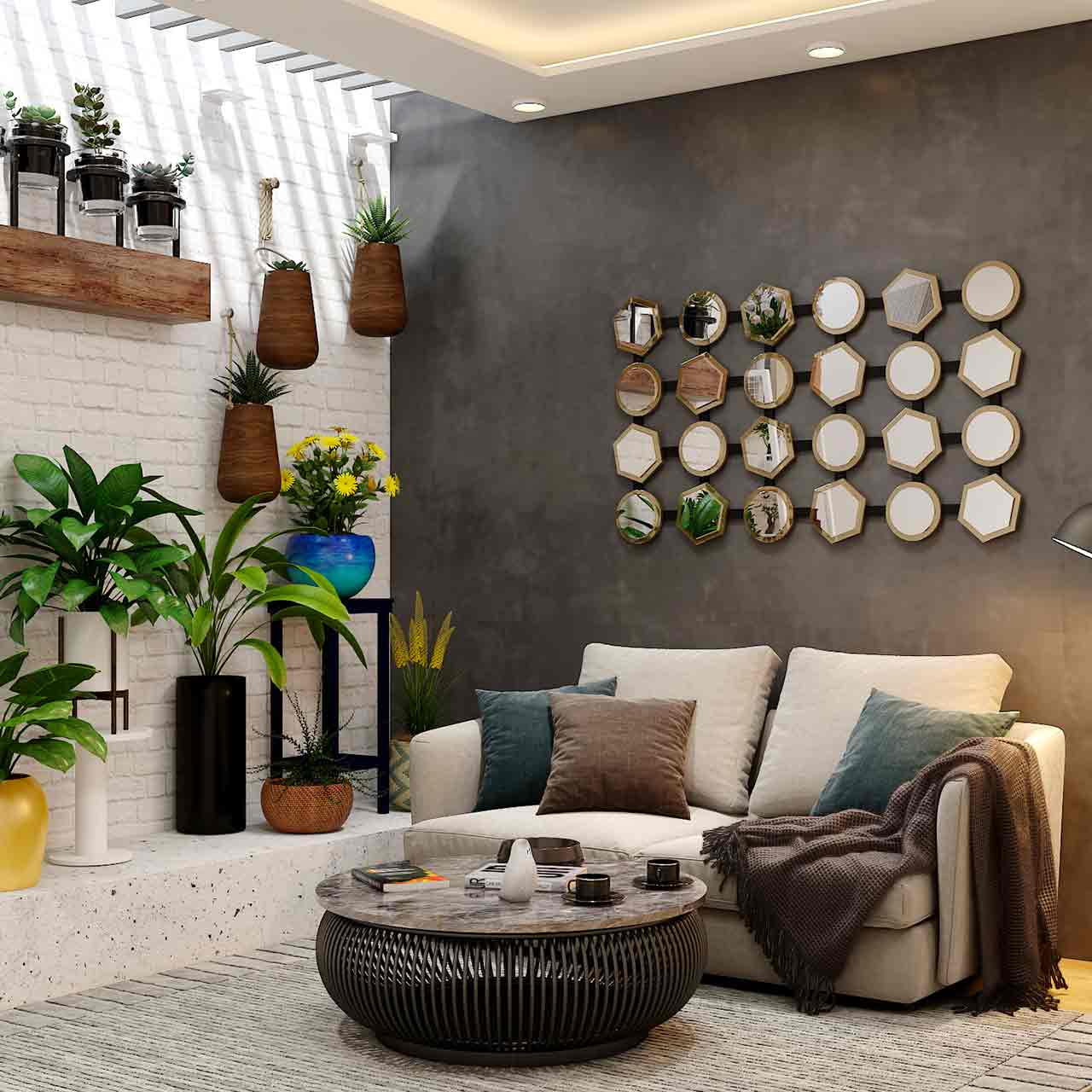 Shabby-chic style living room design go for neutral colours and add pops of bright hues wherever possible