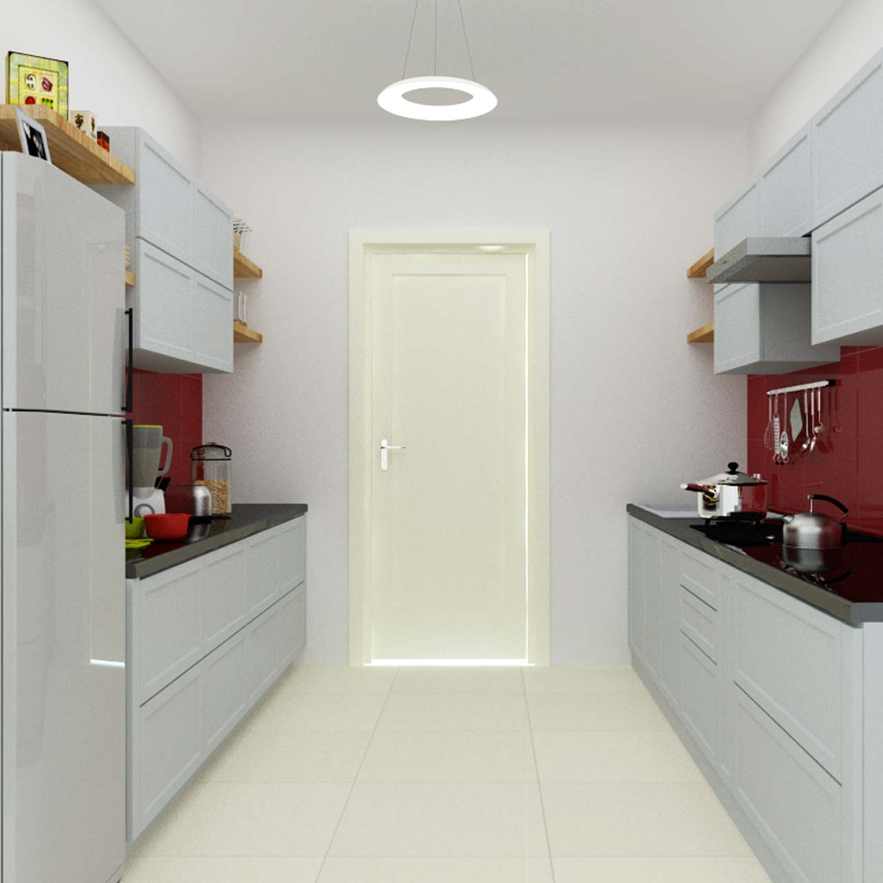 kitchen layouts with parallel kitchen and grey cabinets and black countertop which is a perfect example of a minimalistic kitchen