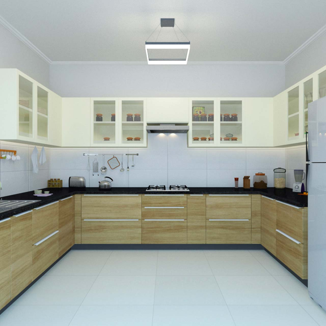 u shaped kitchen layout with wooden finish on the drawers below the countertop in u kitchen layout in kitchen shapes