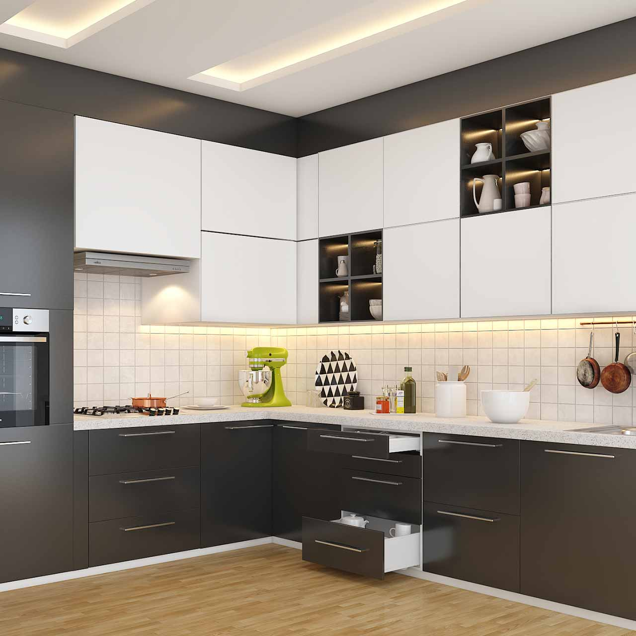l shaped kitchen layout with grey and white cabinets and drawers on the bottom in l shaped modular kitchen photos