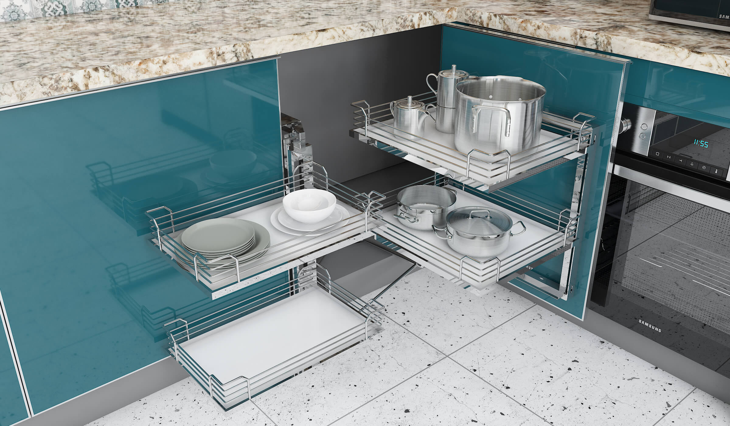 Maximize Storage Space in Your Modular Kitchen with Magic Pull Outs in kitchen design fir small space