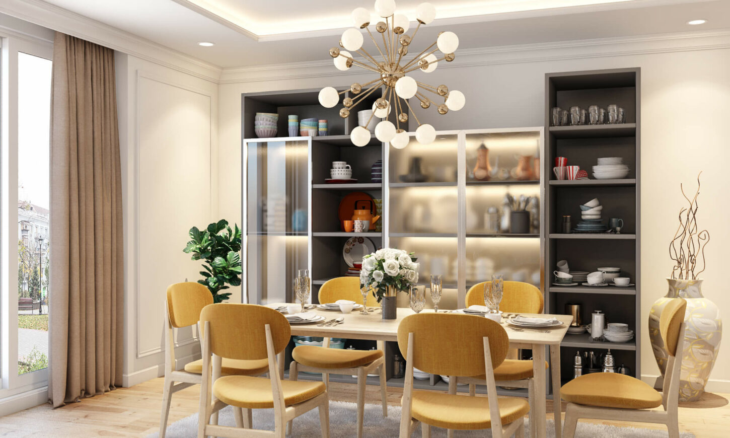 Neo classical style dining room interior design