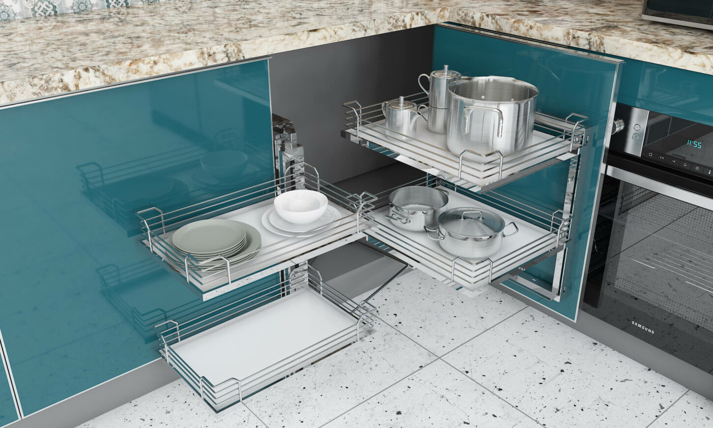 Modern classic modular kitchen with wall module with vertical lift for easy access