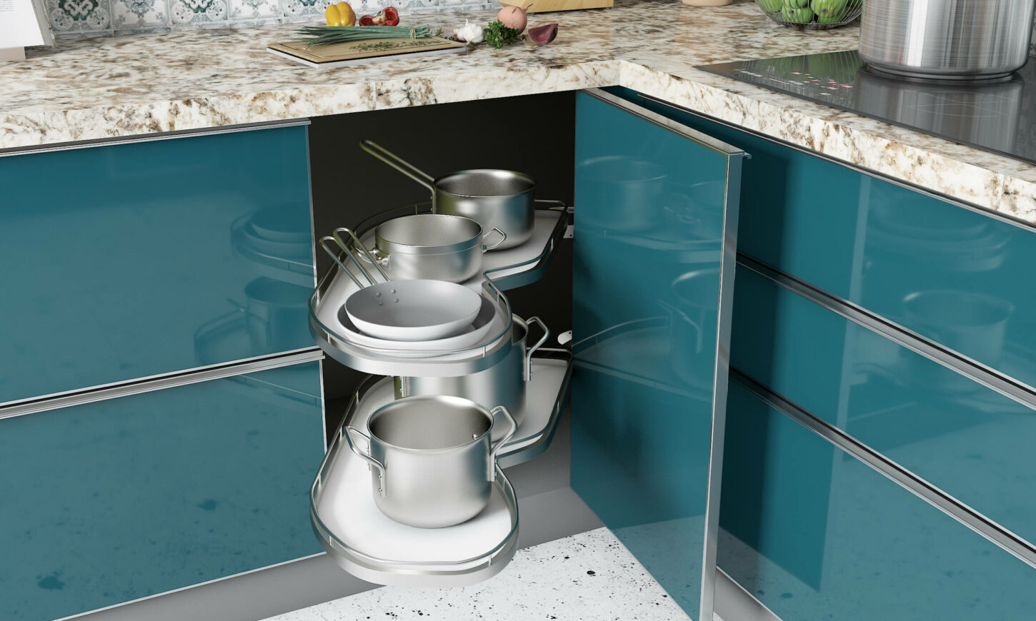 Two toned modern classic kitchen in blue and white with magic corner for smart organization