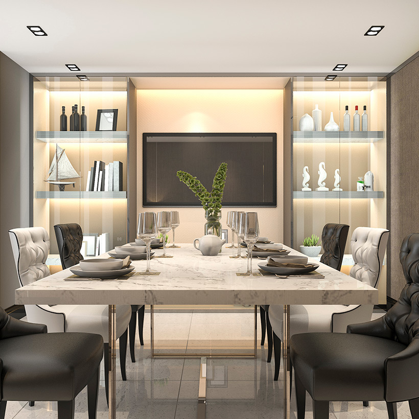 Dining room cabinets with a premium look covered with glass and lighting inside in dining storage cabinets