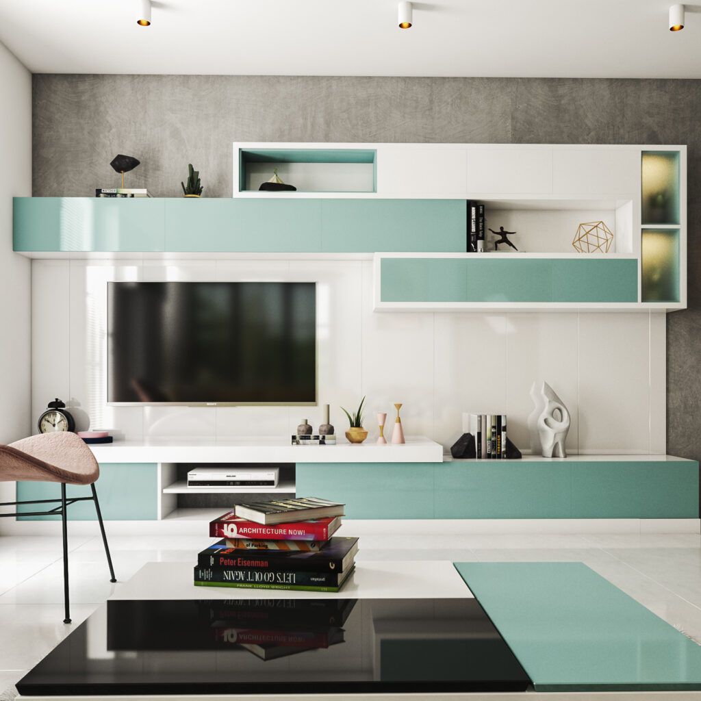 TV Showcase new model for your home with contemporary aqua theme with rectangular upside cupboards for tv showcase new design