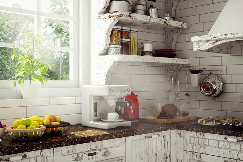 Wooden open kitchen shelves design gives your kitchen a distinctive touch