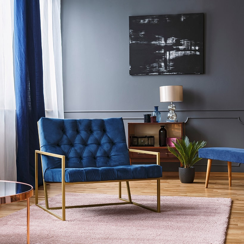 Pantone color of the year is classic blue, design your chairs with classic blue and works well on any seater