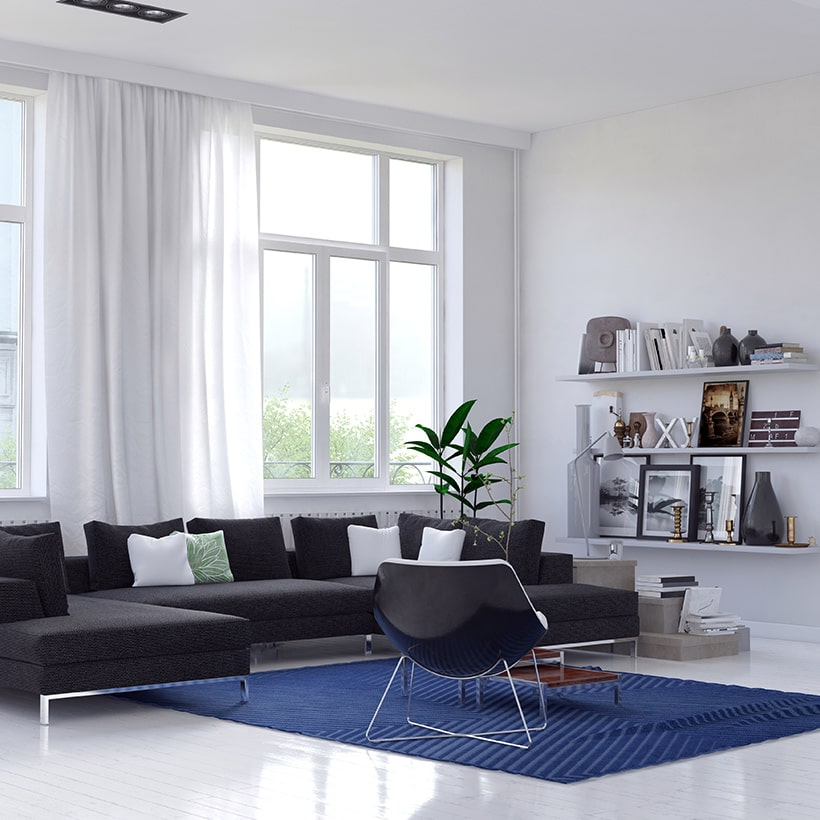 A classic blue rug for living room gives your space with a unique look