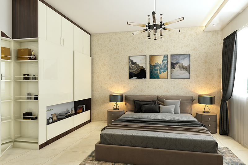 Modern wardrobe designs for bedroom with a lot of storage inside the wardrobe