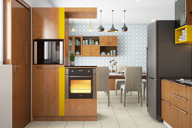 Wallpaper for kitchen walls with a design of pastel colours of blue colour in funky wallpapers for kitchen