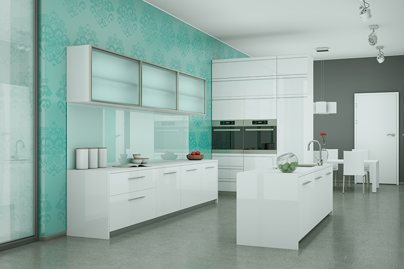 Kitchen tile wallpaper with a green coloured classic printed wallpaper which is as a self adhesive kitchen wallpaper