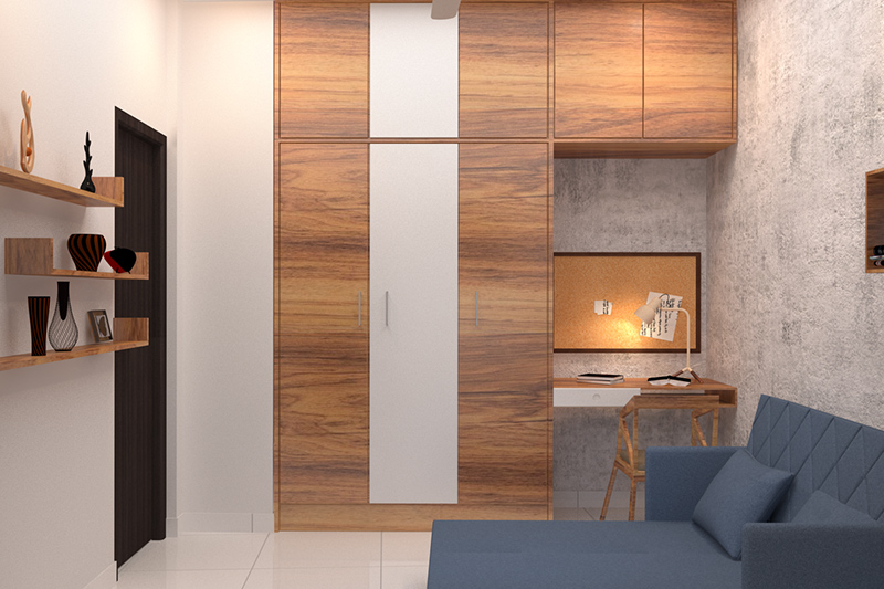Home study ideas for you with a wall mounted desk beside the cupboard