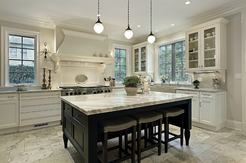 Marble floor design with a beautiful marble stone on the countertop and on the floor