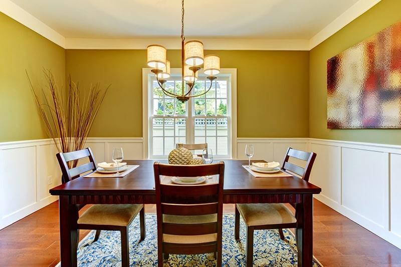 Vastu colors for dining room according to vastu in shades of green, pink, saffron and light orange