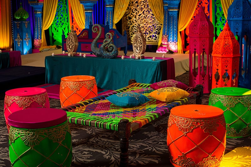 Punjab lohri decoration with a beautiful kath (charpai) for seating