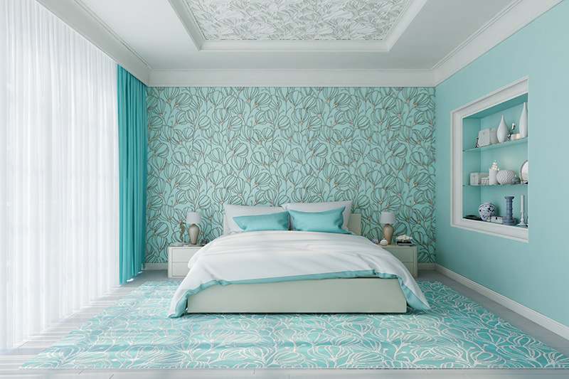 Interior decoration of bedroom with a truly eccentric tulip backsplash for bedroom flower decoration