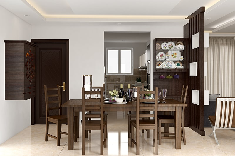 Classic modern wooden dining table with a rectangular wooden table design