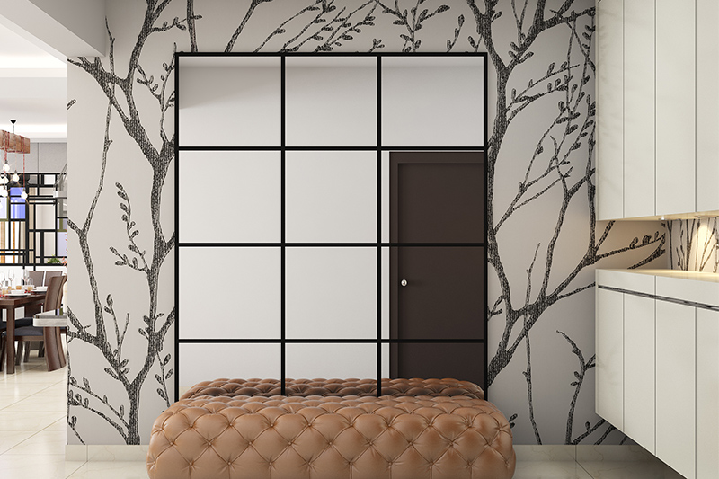 House entrance for richly tufted bench in a glamorous modern foyer design for entrance foyer