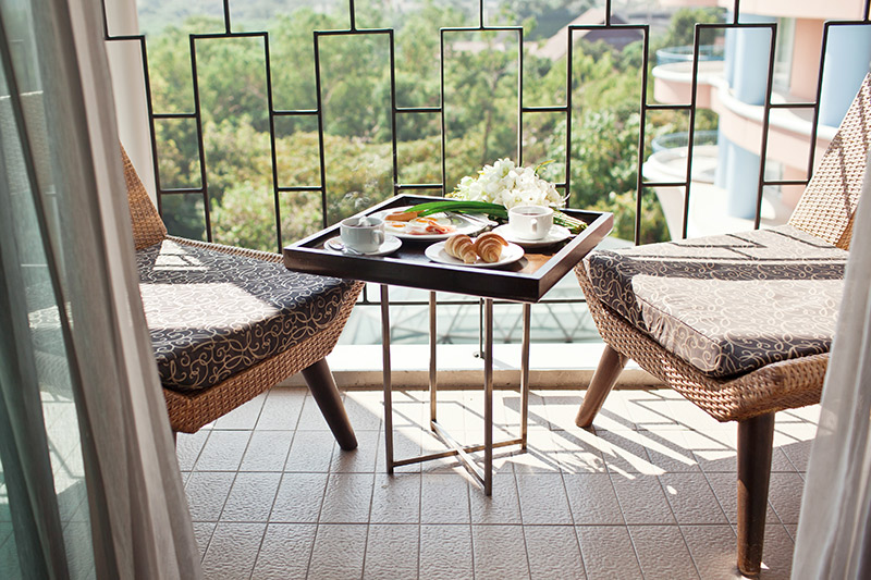 Balcony decoration where only basics that you need to enjoy your morning tea or coffee are there with house balcony decoration