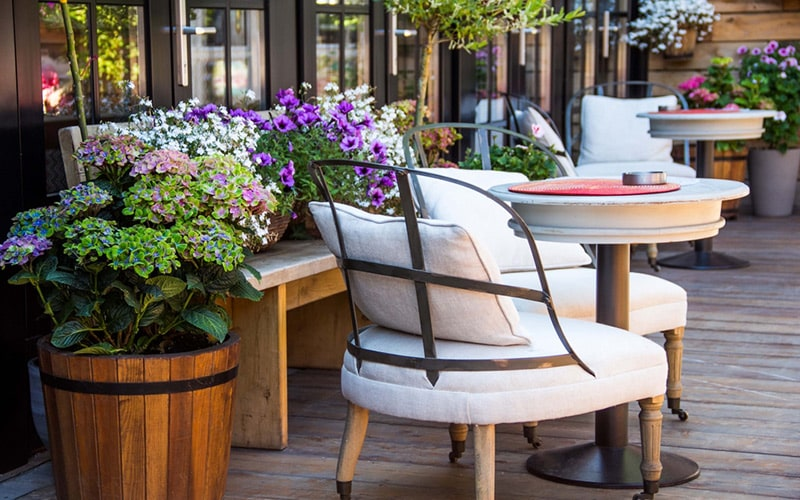 Outdoor balcony soft furniture design by using cushion up the cosiness