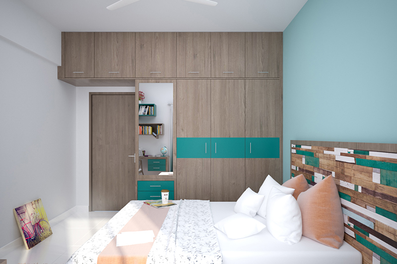 Dressing table with wardrobe design where wall space has been divided into four equal parts and also look at the wardrobe with dressing table designs india