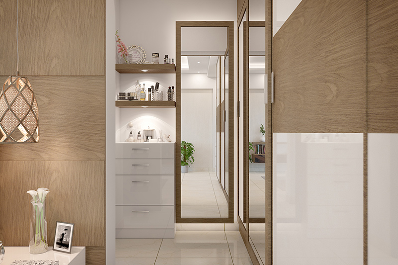 Wardrobe design with mirror where wardrobe design smartly implements full mirrors for frontal and side views of wardrobe design with dressing mirror