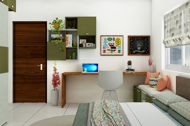 Study room design for kids where you are inspired by nature when designing their study table in kids room