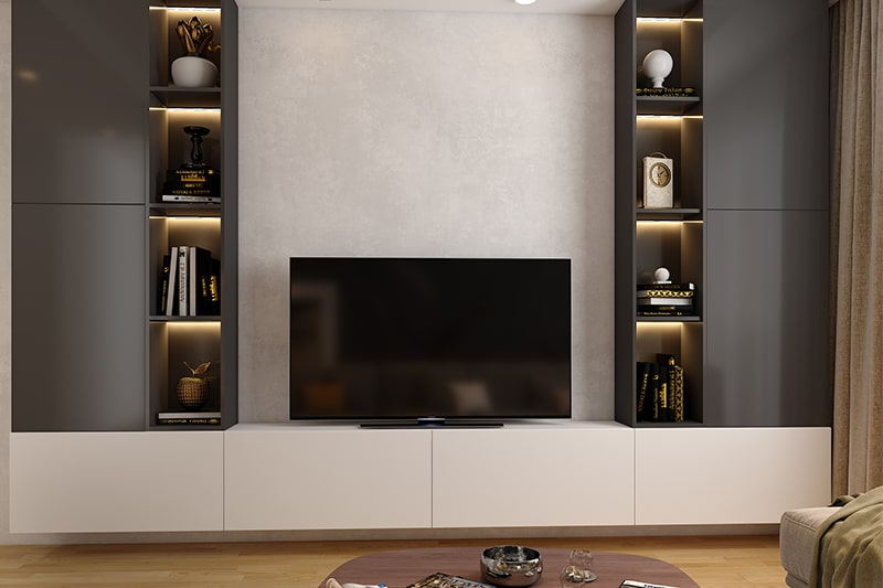 Modern showcase design for hall by using vertical space to make a modern simple showcase designs for hall