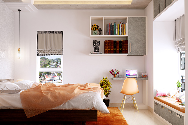 Study area in bedroom where the room has great views of the outside courtesy large windows and also read these bedroom study design ideas