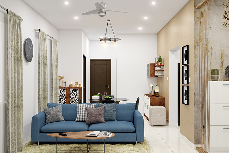 It can be a blessing in disguise as you can pour in your design energies in a concentrated area like in this small living room designs with dining table combo