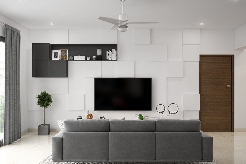 Modern living room design where textured walls can bring visual effects