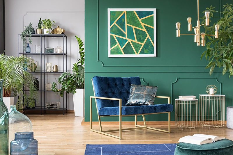 The decadent dark shade green colour room for a royal look and feel