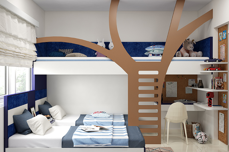 Kids bedroom decor with lovely bunkbed with tree as a ladder with a mix of brown and blue