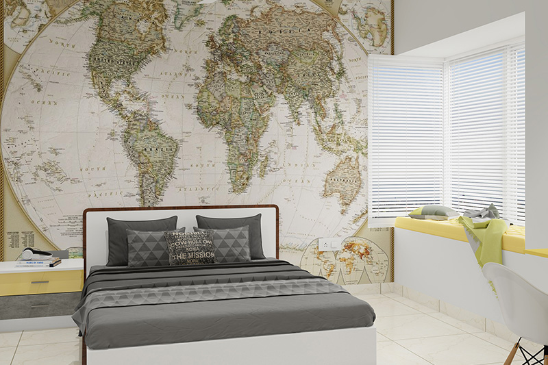 Kids decor ideas for your home where maps work as an interesting decor piece