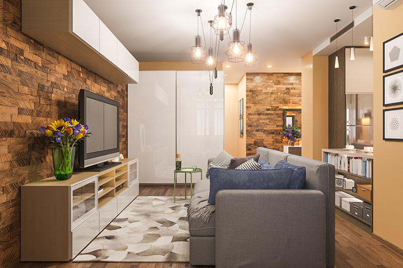 small living room interior with pendant lights are great for entertainment-focussed.