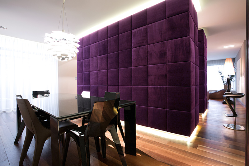 Purple colour room for your home with a rich velvet upholstered room partition of purple living room