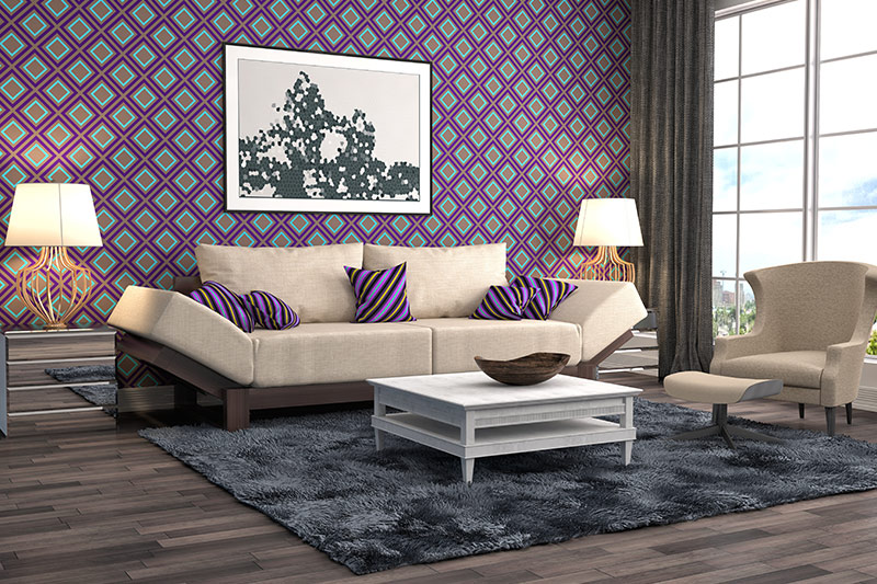 Purple paint clours for living room with a funky pattern and purple sofa cushions with cool stripes with a wall of purple room paint